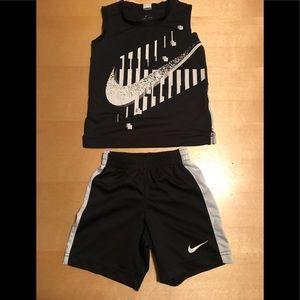 Nike Dri-Fit Logo Tee & Shorts Set Boys 4T Black